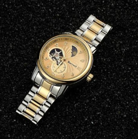瑞士BURRSAIL月相镂空防水自动机械男士手表